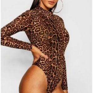 High-Neck Leopard Print Bodysuit